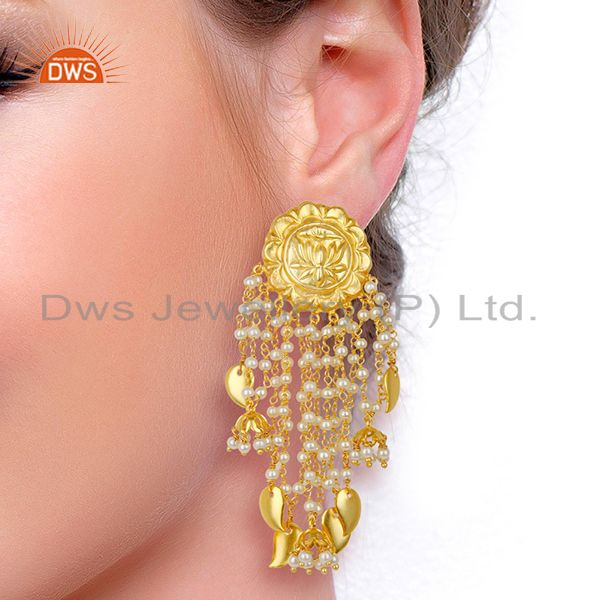 Suppliers 14K Gold Plated Handmade Lotus Carving Pearl Chandelier Fashion Earring Jewelry