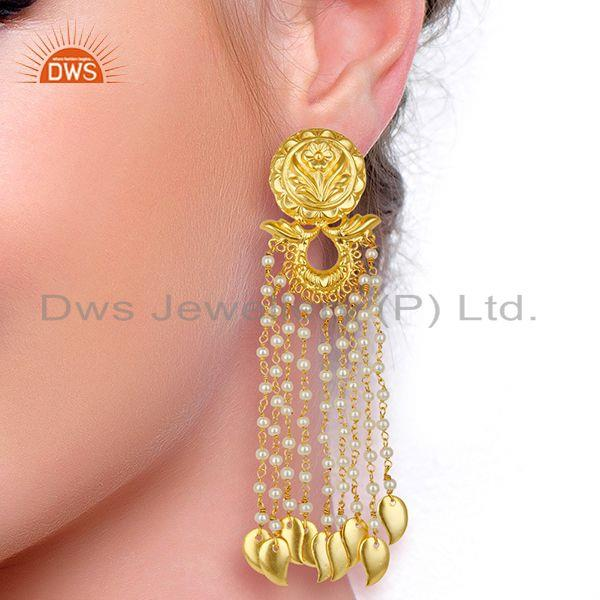 Suppliers 14K Gold Plated Flower Carving Natural Pearl Chandelier Fashion Earring Jewelry