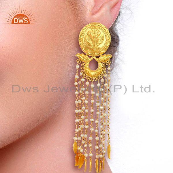 Suppliers Pearl Chandelier 18K Gold Plated Sterling Silver Traditional Earrings Jewelry