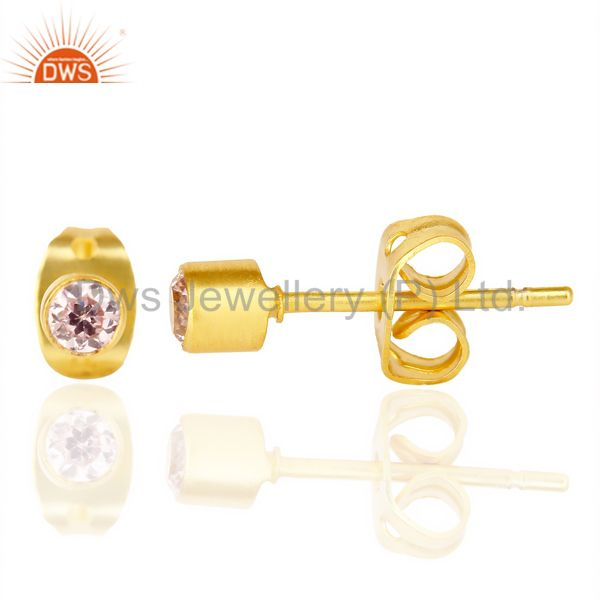 Suppliers Pink Zircon Tiny 3MM Post 14 K Gold Plated Fashion Earring,Quete Earrings