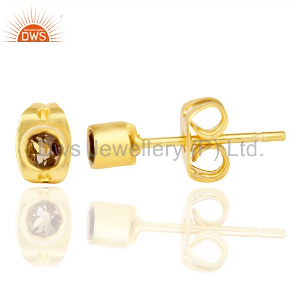 Suppliers Smoky Topaz Tiny 3MM Post 14 K Gold Plated Fashion Earring,Quete Earrings