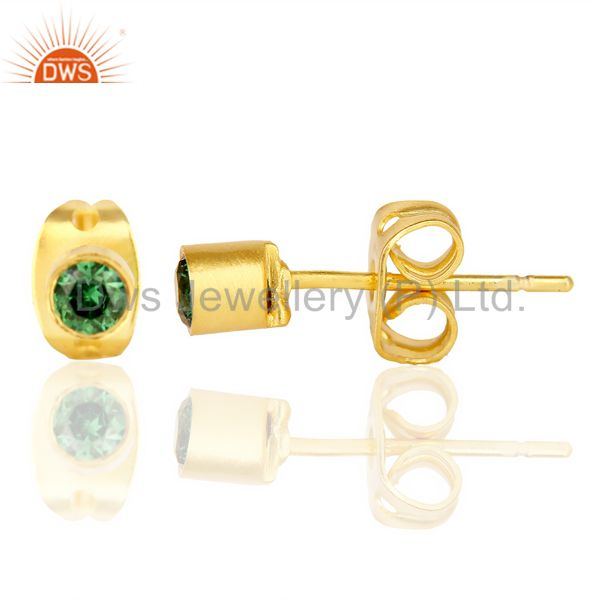 Suppliers Green Zircon Tiny 3MM Post 14 K Gold Plated Fashion Earring,Quete Earrings