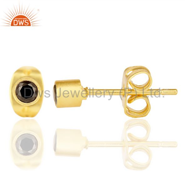 Suppliers Black Zircon Tiny 3MM Post 14 K Gold Plated Fashion Earring,Quete Earrings