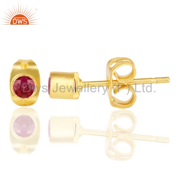 Suppliers Red Zircon Tiny 3MM Post 14 K Gold Plated Fashion Earring,Quete Earrings