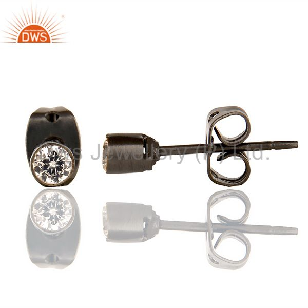 Suppliers Black Rhodium Plated White Zircon Tiny 3MM Post Fashion Earrings
