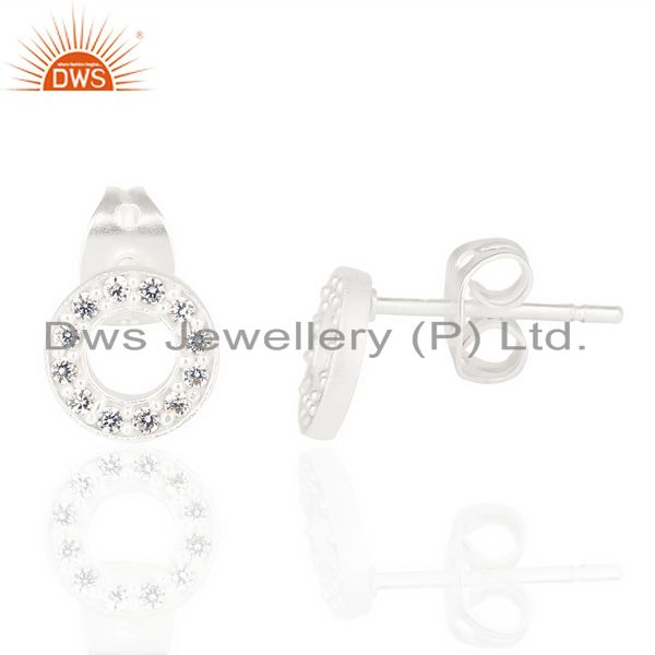 Suppliers O Design 925 Sterling Fine Silver White Zircon Stud Earrings Wholesaler India