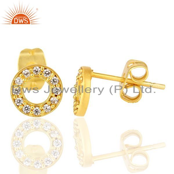 Suppliers 18k Gold Plated 92.5 Sterling Silver White Zircon O Stud Earrings Manufacturers