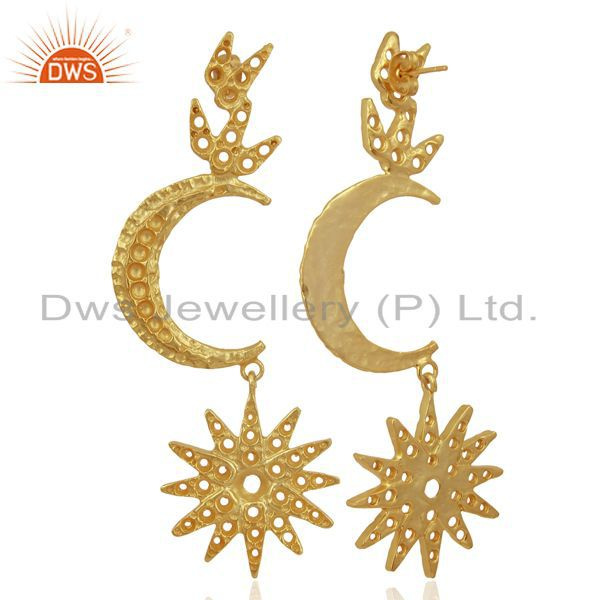 Suppliers Indian Traditional Moon Design Gold Plated Brass Fashion Earrings