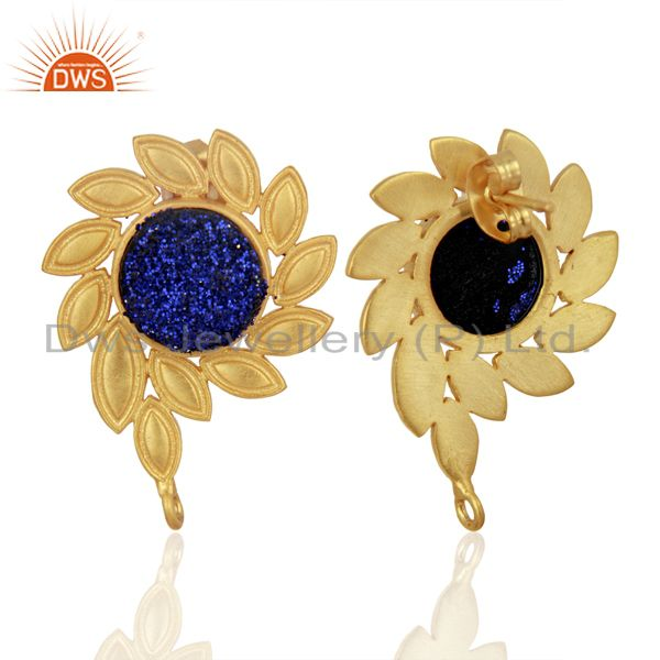 Suppliers Blue Druzy Stud 18K Yellow Gold Plated Brass Earrings Fashion Jewelry