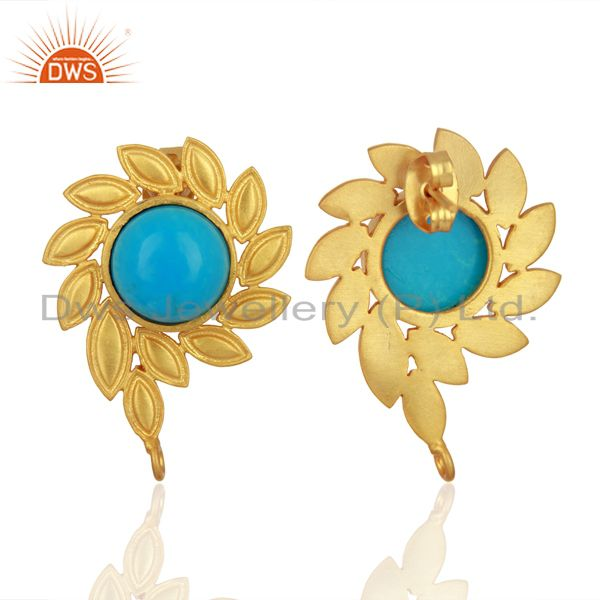 Suppliers Turquoise Stud 18K Yellow Gold Plated Brass Earrings Fashion Jewelry