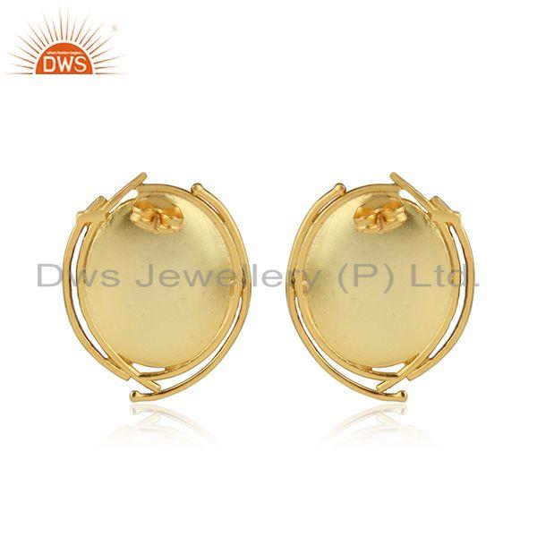Suppliers Red Onyx Gemstone Oval Shape Brass Fashion Stud Earrings Jewelry