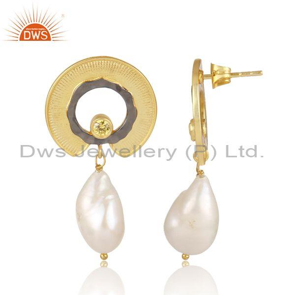 Fresh water pearl and zircon citrine set brass gold earrings