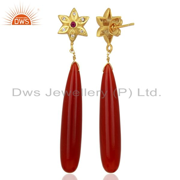 Suppliers Red Onyx CZ Dangle 18K Yellow Gold Plated Brass Earrings Gemstone Jewelry