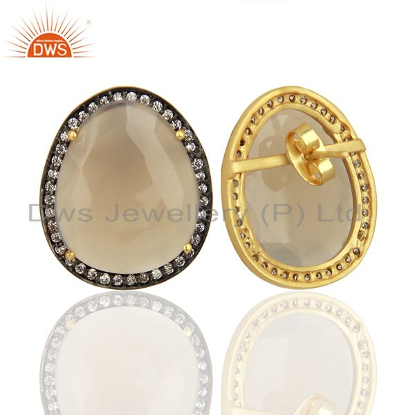 Suppliers Grey Chalcedony CZ Stud 18K Yellow Gold Plated Brass Earrings Gemstone Jewelry