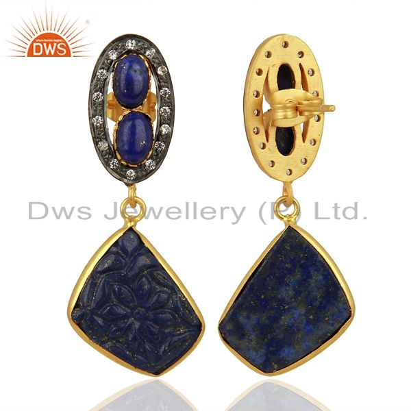 Suppliers Lapis Lazuli CZ Dangle 18K Gold Plated Brass Designer Earrings Jewelry
