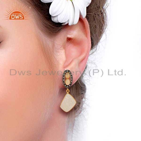 Suppliers Rose Chalcedony CZ Dangle 18K Gold Plated Brass Designer Earrings Jewelry