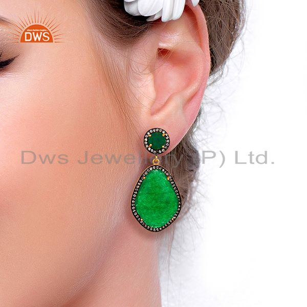 Suppliers Green Aventurine Gemstone Cubic Zirconia Border 18K Gold Plated Brass Jewellery