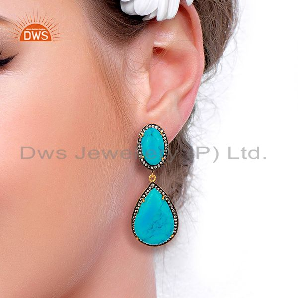 Suppliers Turquoise Gemstone Cubic Zirconia Border 18K Gold Plated Teardrop Earring