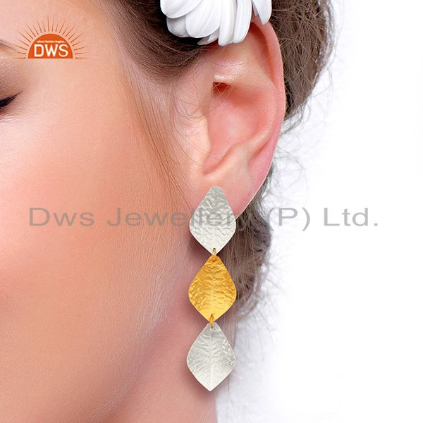 Suppliers Textured Leaf Design Brass Fashion Earrings Jewelry Wholesale Supplier