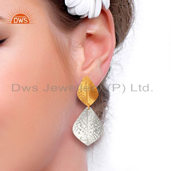 Suppliers Leaf Design Brass Textured Fashion Earrings Jewelry Manufacturer