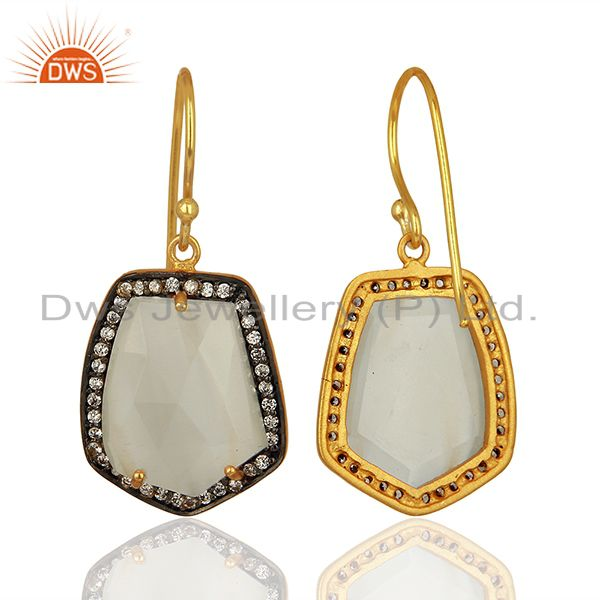 Suppliers Handmade Gold Plated white Moonstone Cz Gemstone Earrings Jewelry