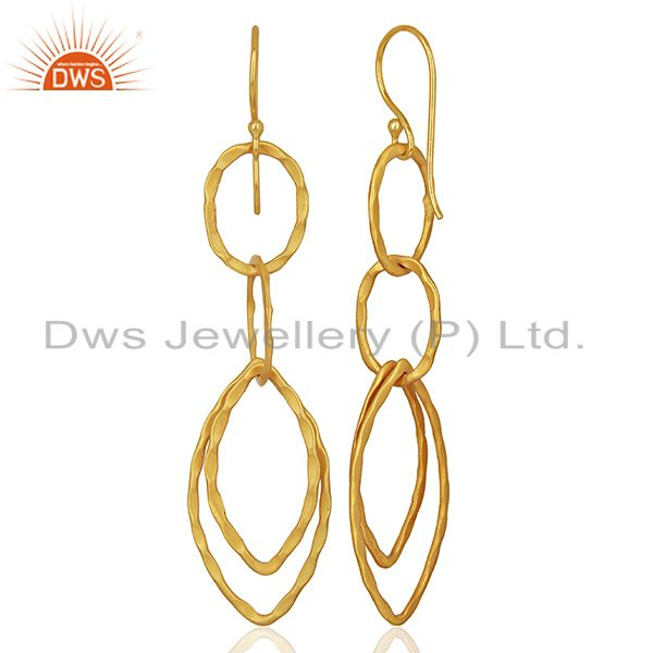 Suppliers Yellow Gold Plated Designer Girls Fashion Earring Jewelry Manufacturer