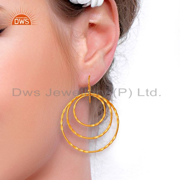 Suppliers Yellow Gold Plated Brass Fashion Earrings Jewelry Manufacturer
