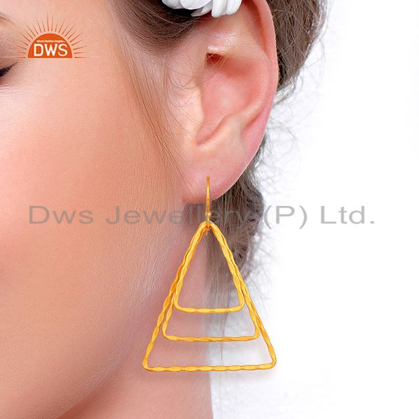 Suppliers Triangle Shape Gold Plated Brass Fashion Earrings Jewelry Supplier
