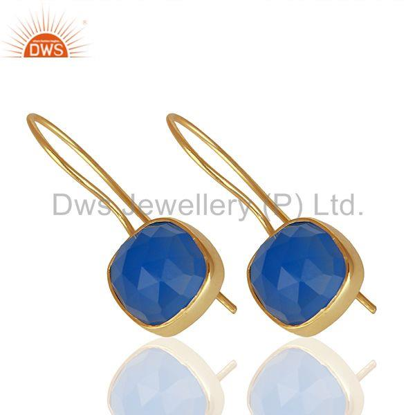 Suppliers Blue Gemstone Gold Plated Brass Fashion Earrings Manufacturer India