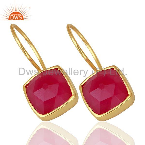 Suppliers Pink Chalcedony Gemstone Girls Gold Plated Silver Earrings Supplier