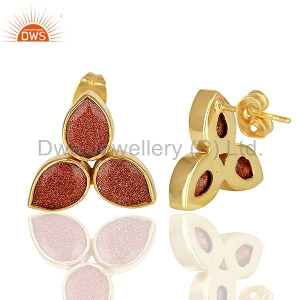 Suppliers Sun Stone Gold Plated Brass Fashion Stud Earrings Manufacturer
