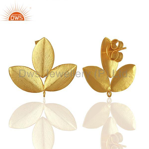 Suppliers Handmade Leaf Design Gold Plated Stud Earrings connectors Manufacturer