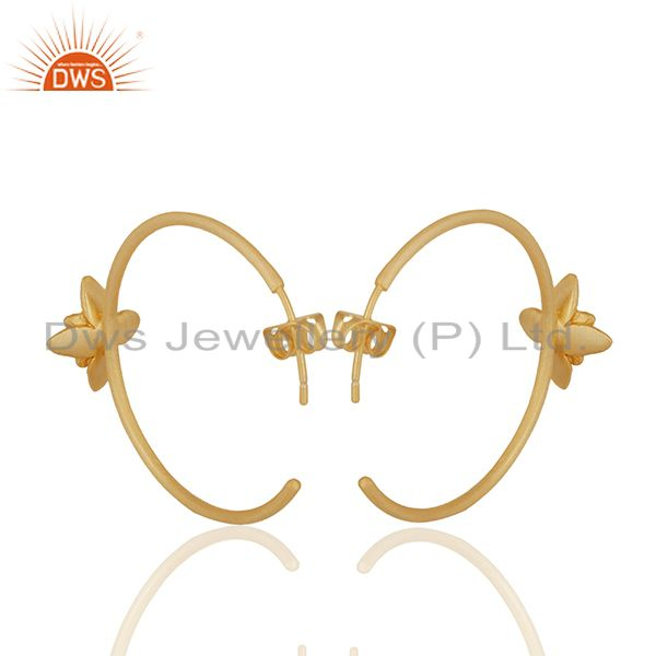 Suppliers Floral Design Gold Plated Handmade Brass Fashion Hoop Earrings Jewelry