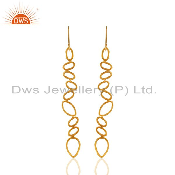 Suppliers Handmade Brass Gold Plated Fashion Dangle Earrings Manufacturer