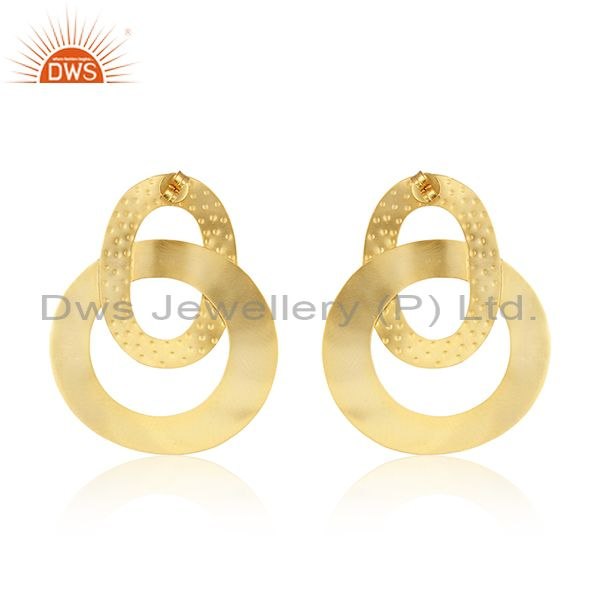 Suppliers Circle Design Gold Plated Brass Fashion Simple Earrings Manufacturer