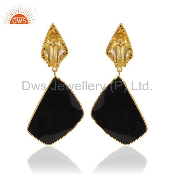Suppliers Black onyx Gemstone 925 Silver Clip On Earrings Manufacturer from India