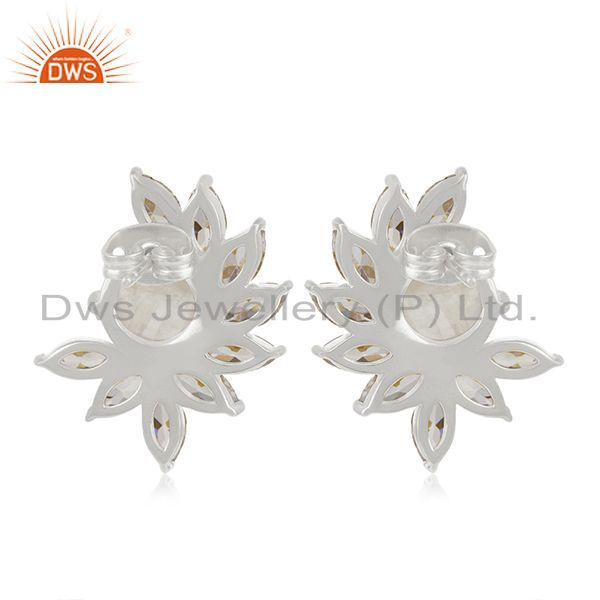 Suppliers Rainbow Moonstone Brass fashion Stud Earrings Wedding Jewelry Manufacturer India