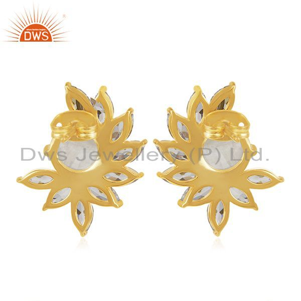 Suppliers White Zircon and Moonstone New Designer Gold Plated Fashion Stud Earring Jewelry