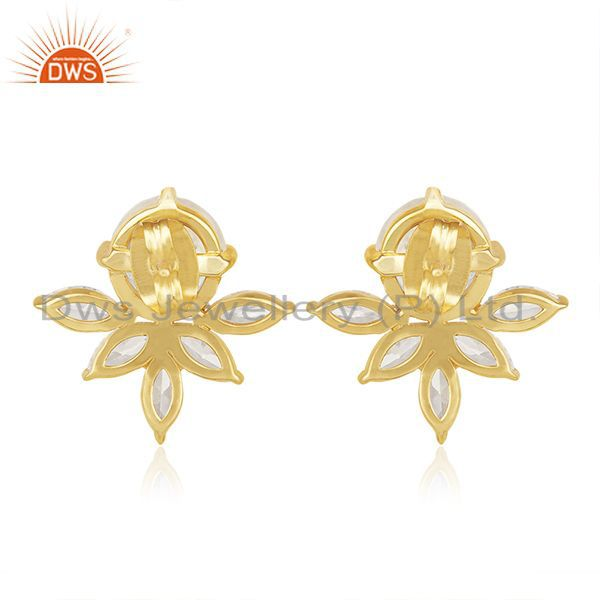 Suppliers Designer Gold Plated Brass Prong Set Moonstone and Zircon Stud Earring Wholesale