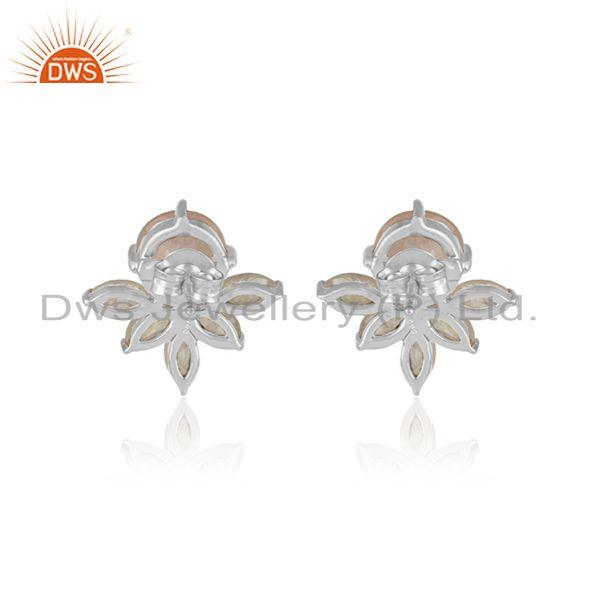 Designer of Designer stud in silver 925 with rainbow moonstone and rose quartz