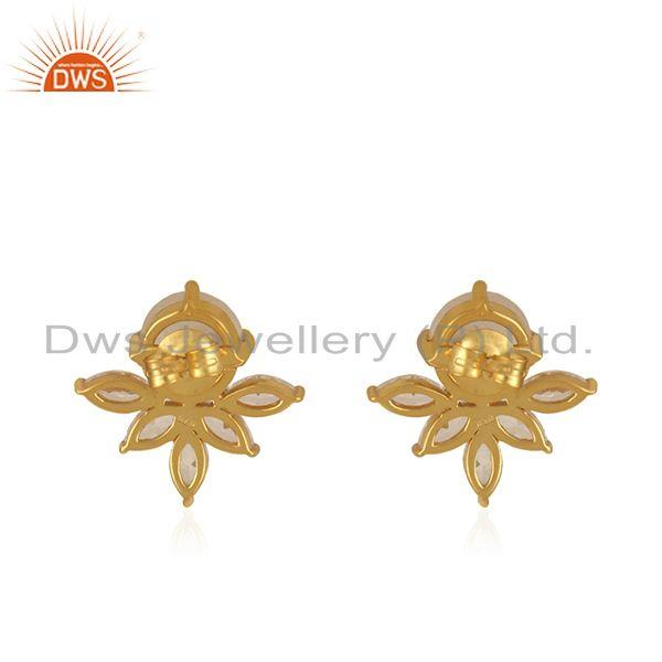 Suppliers Designer Gold Plated Silver CZ Rainbow Moonstone Stud Earring Jewelry