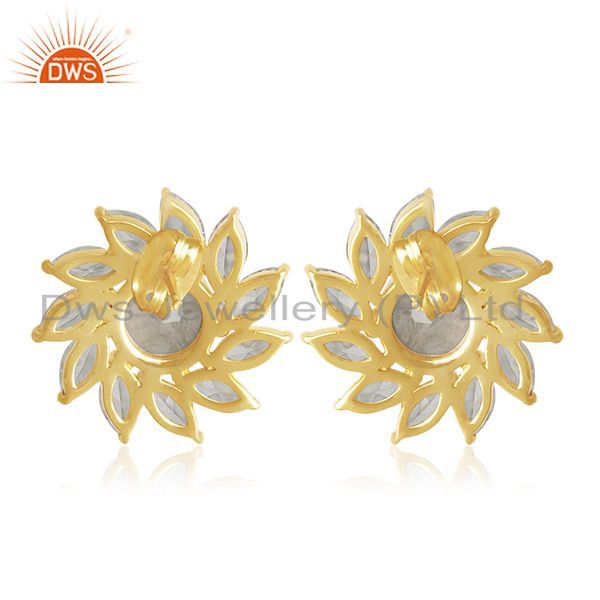 Suppliers Floral Design Gold Plated Brass Fashion Gemstone Wedding Stud Earrings Wholesale