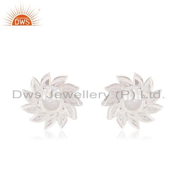 Suppliers Wholesale Fine Silver CZ Moonstone Floral Earring Jewelry