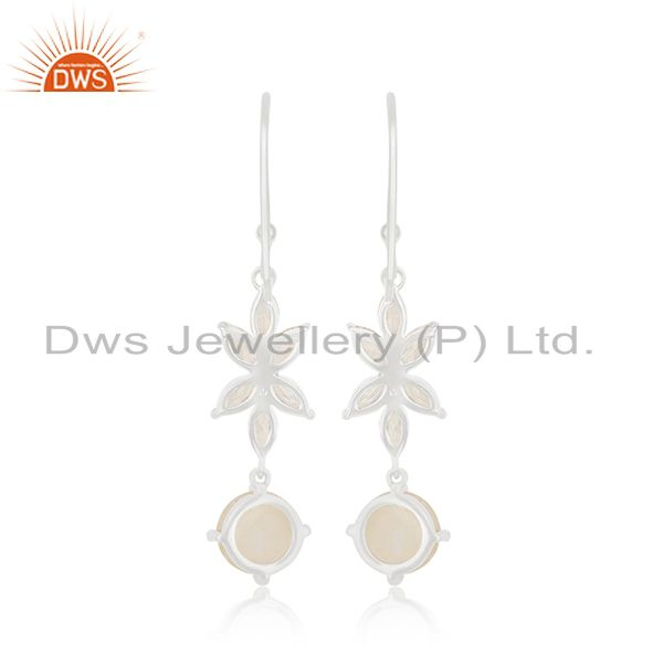 Suppliers White Zircon and Rainbow Moonstone Brass Fashion Earring Manufacturer Jaipur
