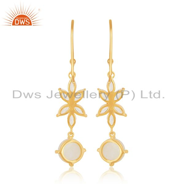Suppliers Designer Gold Plated Brass Fashion Multi Gemstone Dangle Earring Manufacturer