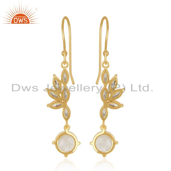 Suppliers Rainbow Moonstone and Cz Gold Plated Brass Fashion Earring for Girls Jewelry