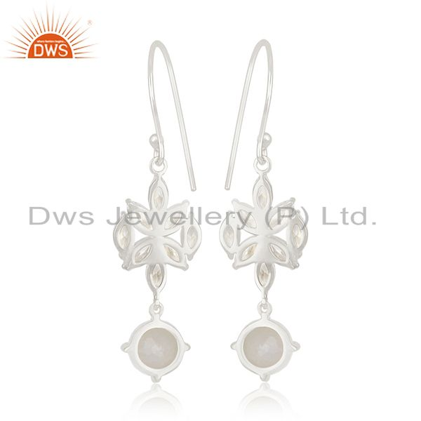 Suppliers White Zircon and Rainbow Moonstone Fine Silver Plated Brass Earring Manufacturer