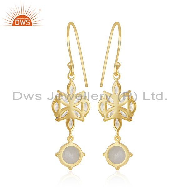 Suppliers Gold Plated Brass White Zircon and Rainbow Moonstone Dangle Earring Manufacturer