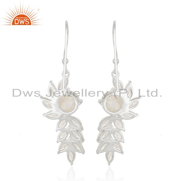 Suppliers Fine Silver White Zircon and Rainbow Moonstone Brass Fashion Earring Wholesale
