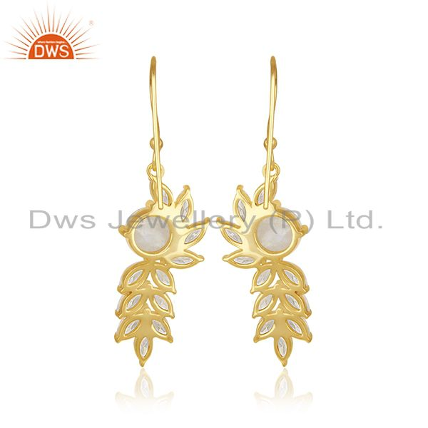 Suppliers Gold Plated Brass Designer CZ and Moonstone Earring Fashion Jewelry Manufacturer
